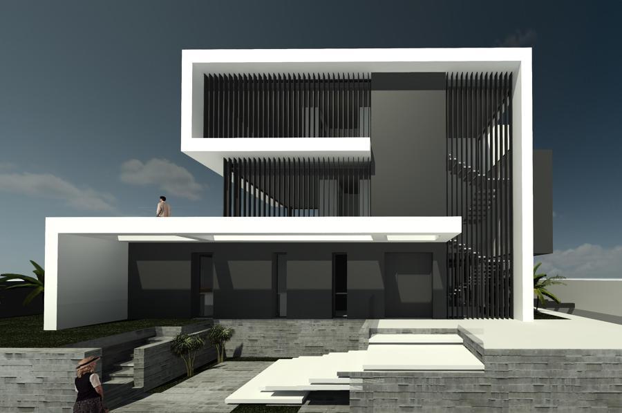 Fachadas de la entrada que intercala ventanales y volúmenes en hormigón