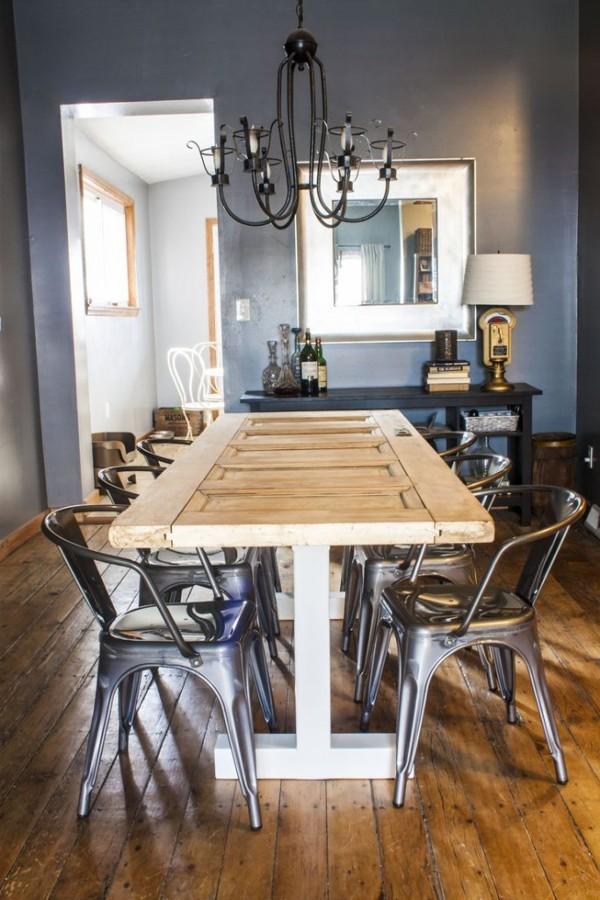 Foto mesa con puerta reciclada de boho chic 937437 for Mesas con puertas