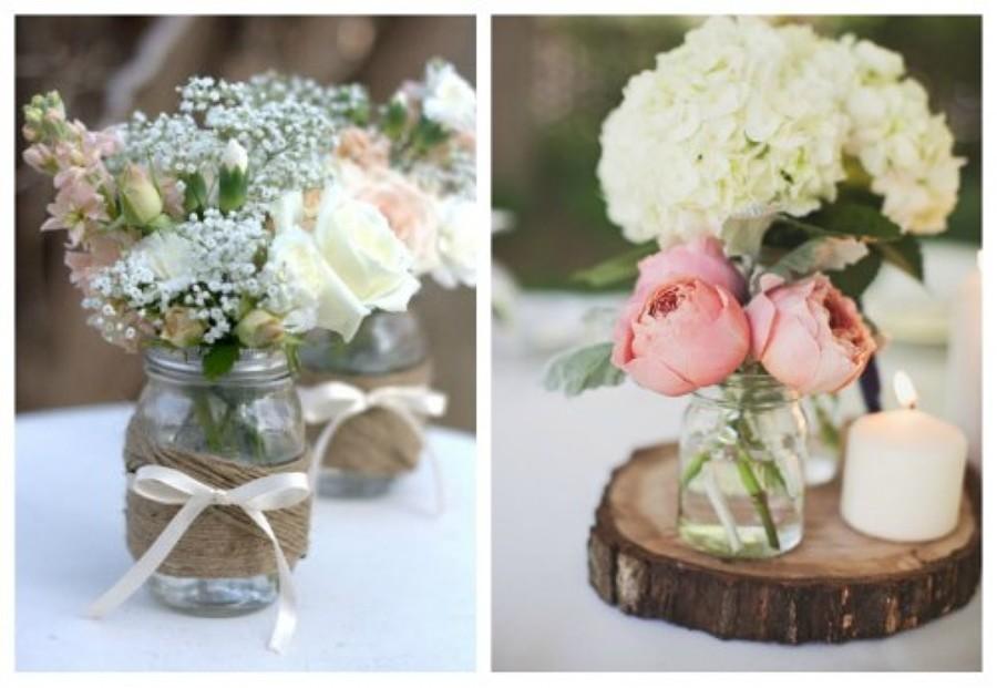 Centro mesa flores y velas