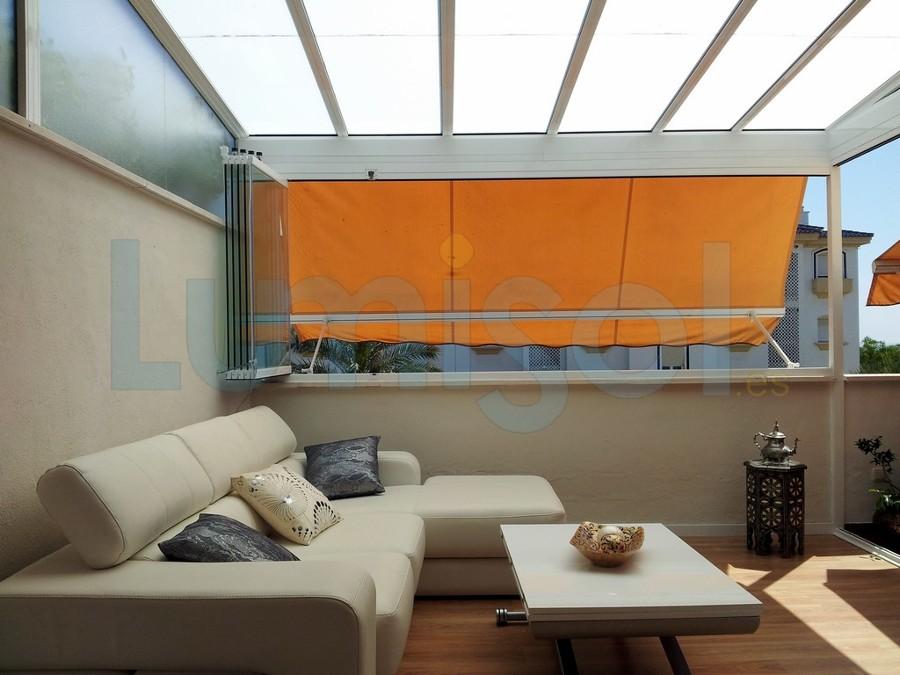 Foto cerramiento techo de cristal toldos cortina de for Perfiles para toldos correderos