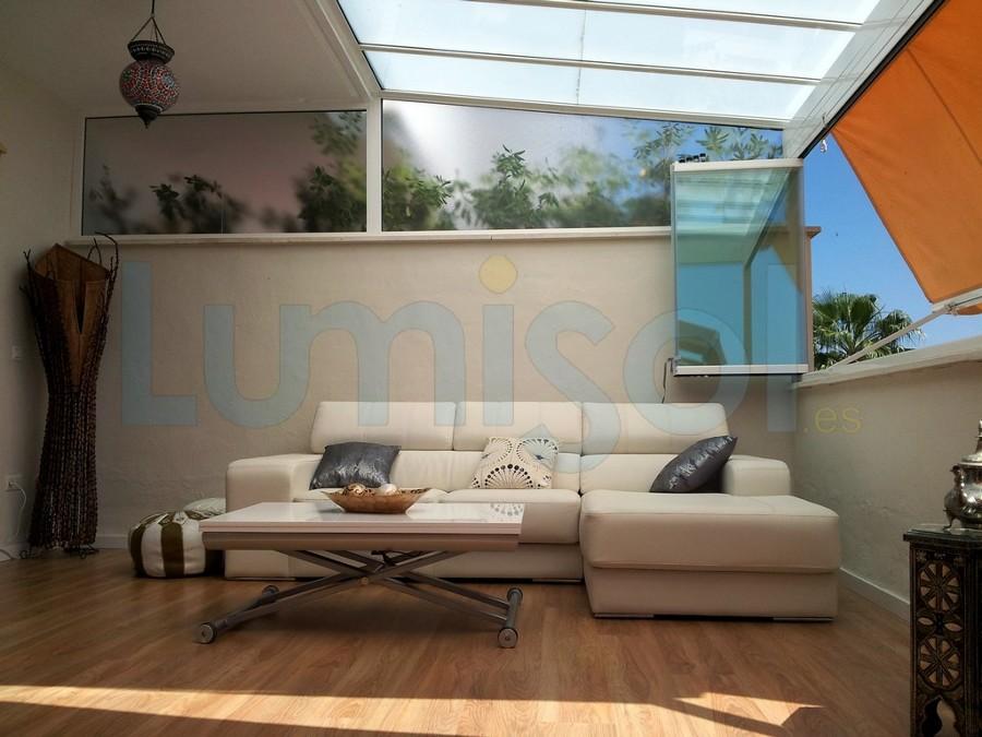 Foto cerramiento techo de cristal toldos cortina de for Perfiles para toldos