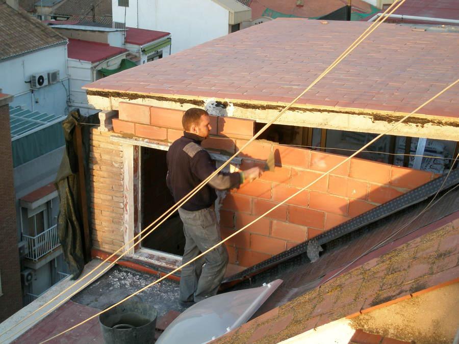 cerrando estructura de la terraza por fuera