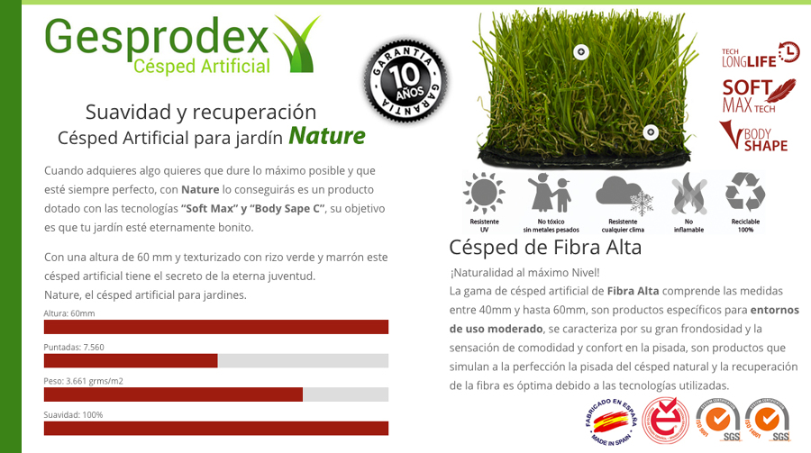 Césped Artificial gama alta modelo Nature 60mm fabricado en España
