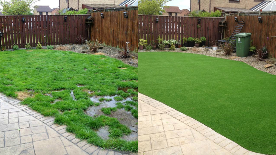 Jardin con cesped artificial antes y despues ideas - Jardin con cesped ...