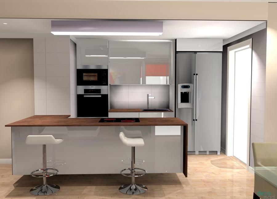 Cocina abierta encimera Dekton 2cm