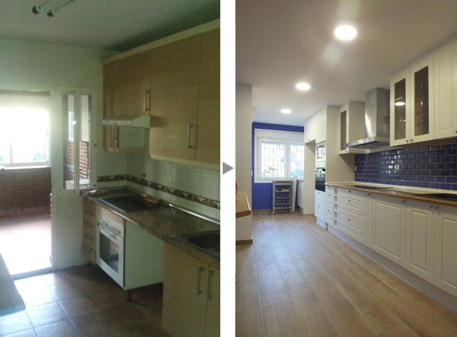 Cocina ampliada, antes y después de la reforma.
