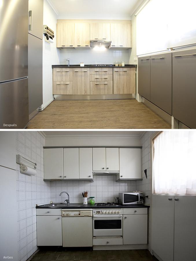 Cocina antes y después de la reforma