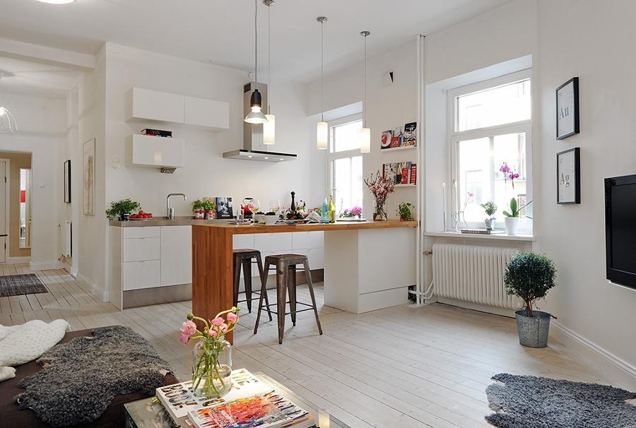 salón-cocina blancos