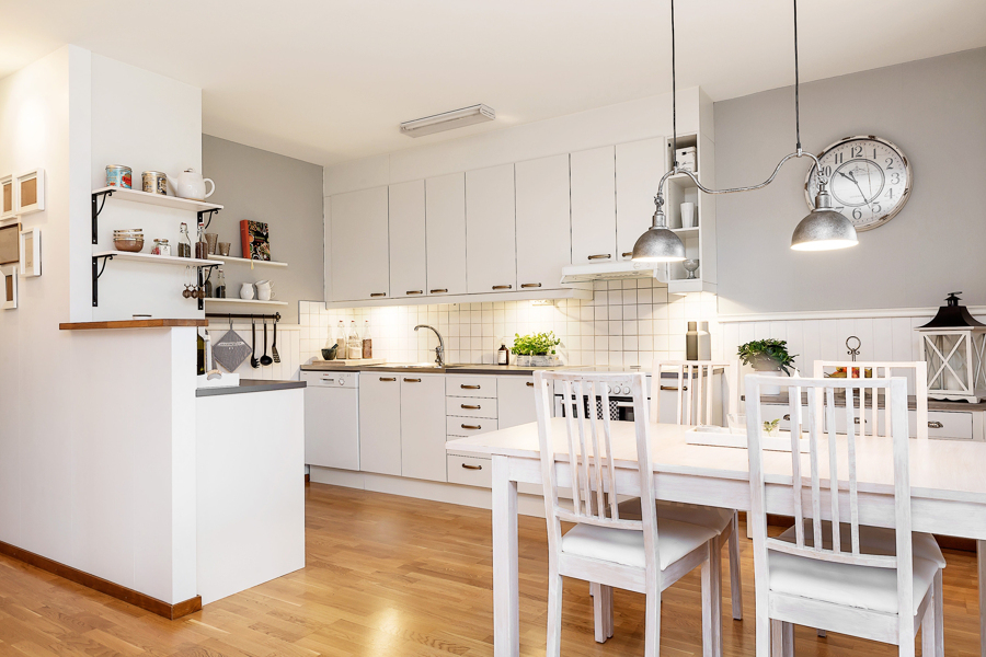 Foto cocina blanca con mesa para comer de marta 1024781 for Mesas de cocina blancas y madera