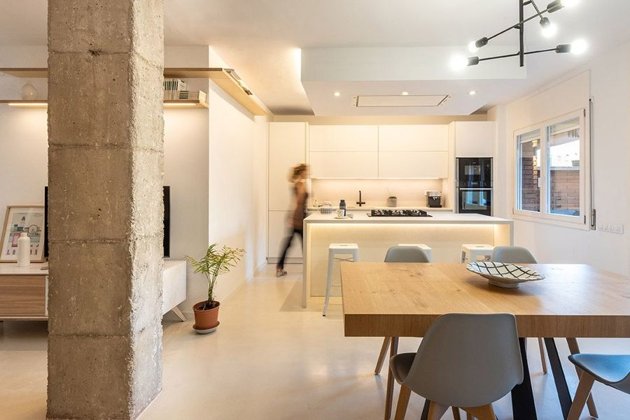 Cocina blanca open concept