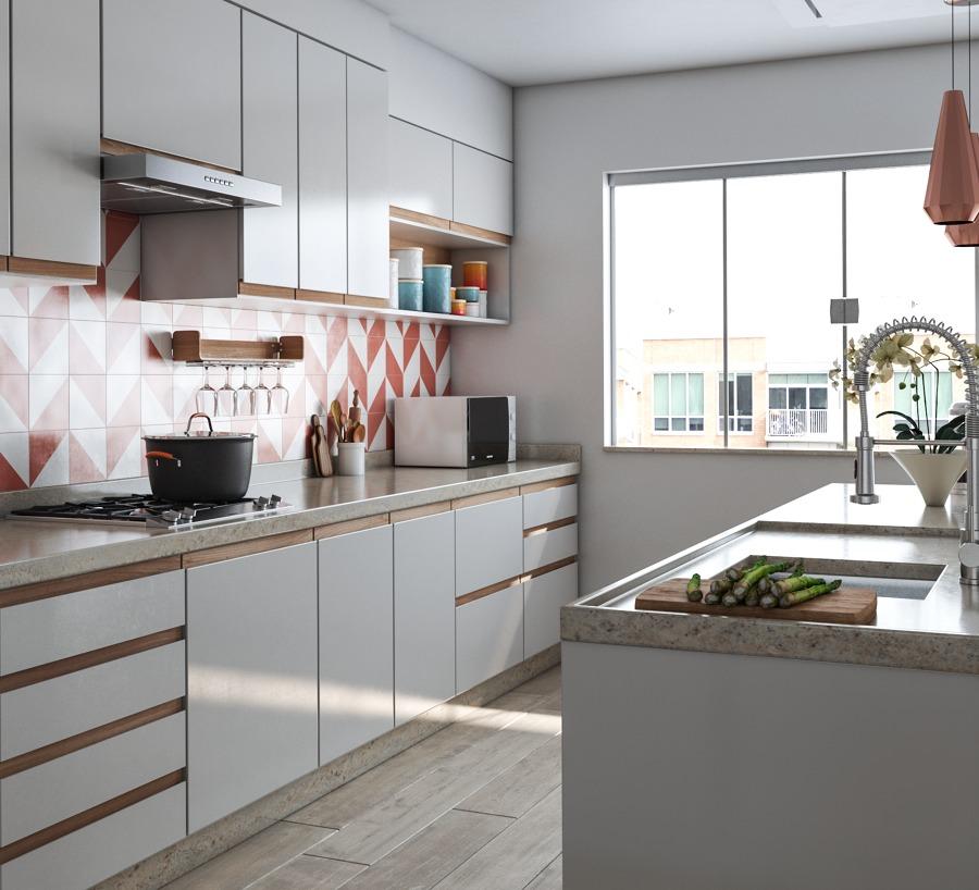 Cocina con azulejos en rosa y blanco