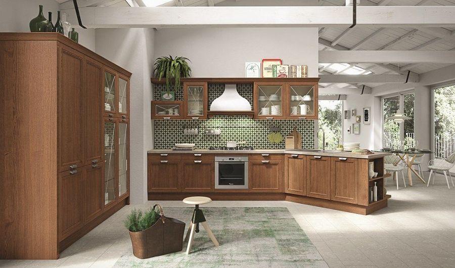 Cocina con frente de azulejos en verde