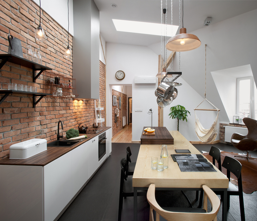 Foto cocina con frente de ladrillo visto de lola mulledy - Cocinas con ladrillo visto ...