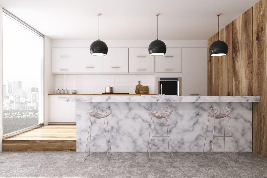 Cocina con gran península de mármol