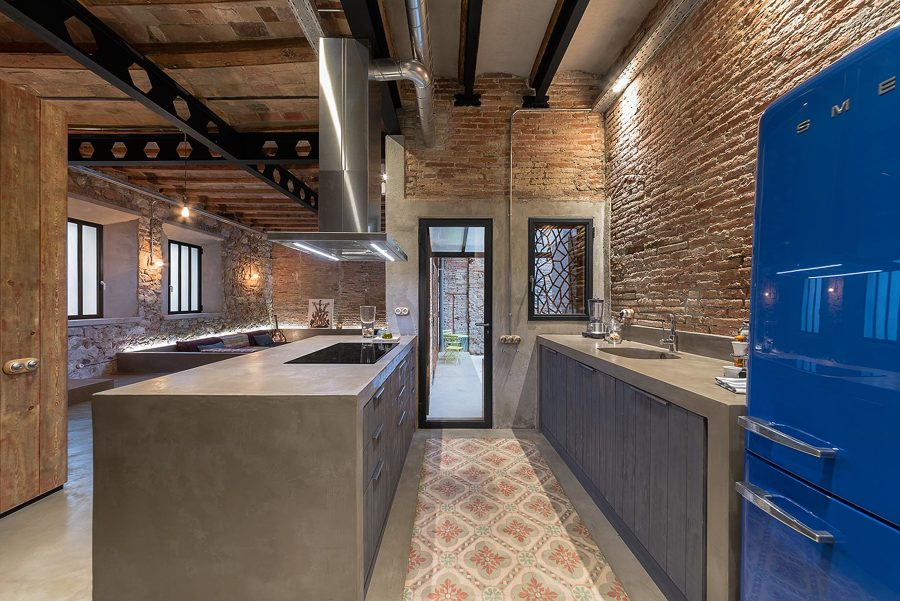 Cocina con muebles de cemento