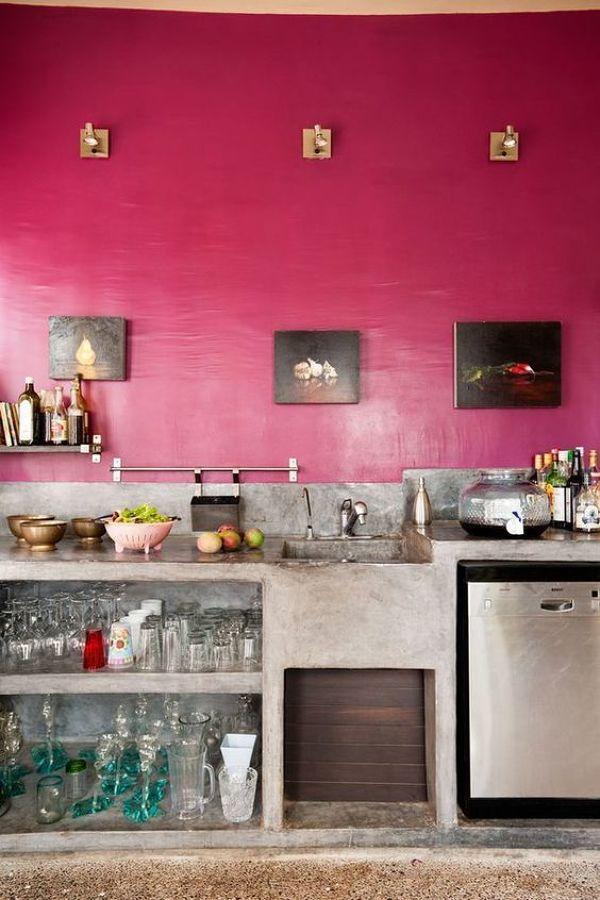 cocina con pared de hormigon