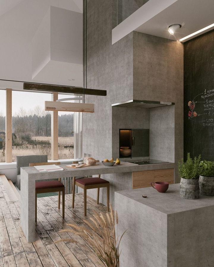 8 cocinas de microcemento que te enamorar n ideas reformas cocinas - Microcemento en cocinas ...