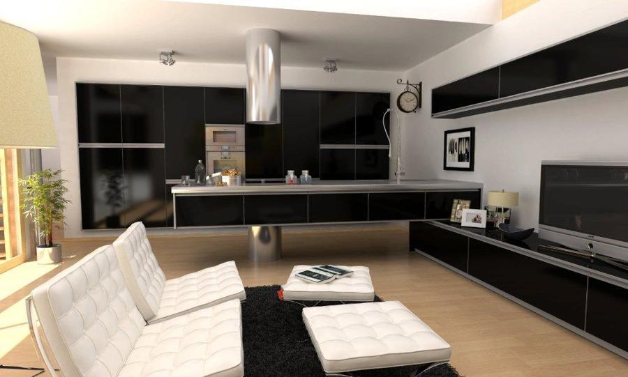 Foto cocina de dise o integrada en el comedor sal n de for Modelo de cocina abierta en el comedor