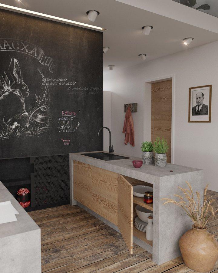 Cocina de microcemento y pared de pizarra