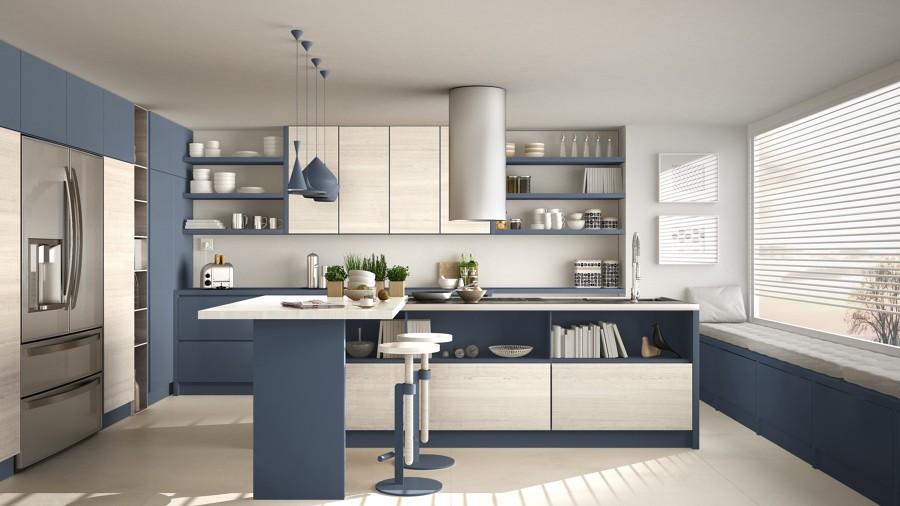 Cocina en azul clásico