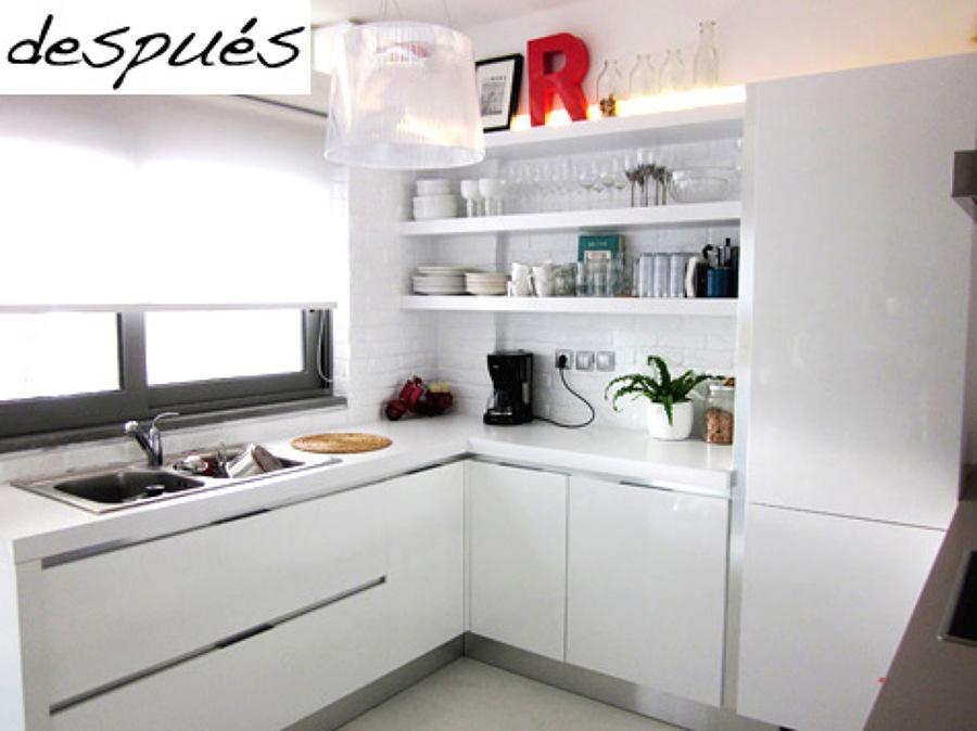 El incre ble antes y despu s de 5 cocinas sin obras - Cocinas con electrodomesticos blancos ...