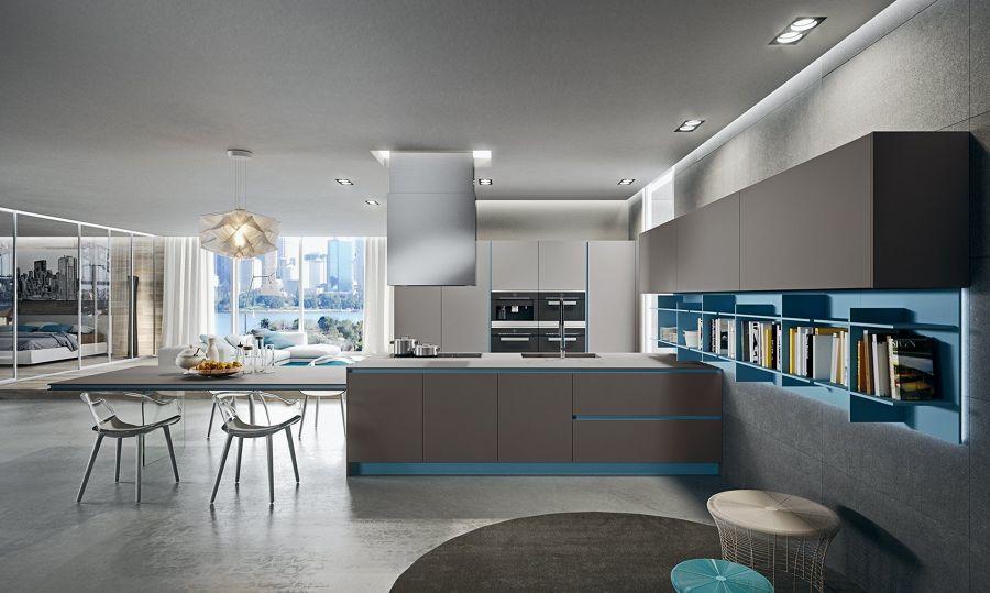 Cocina en gris y azul