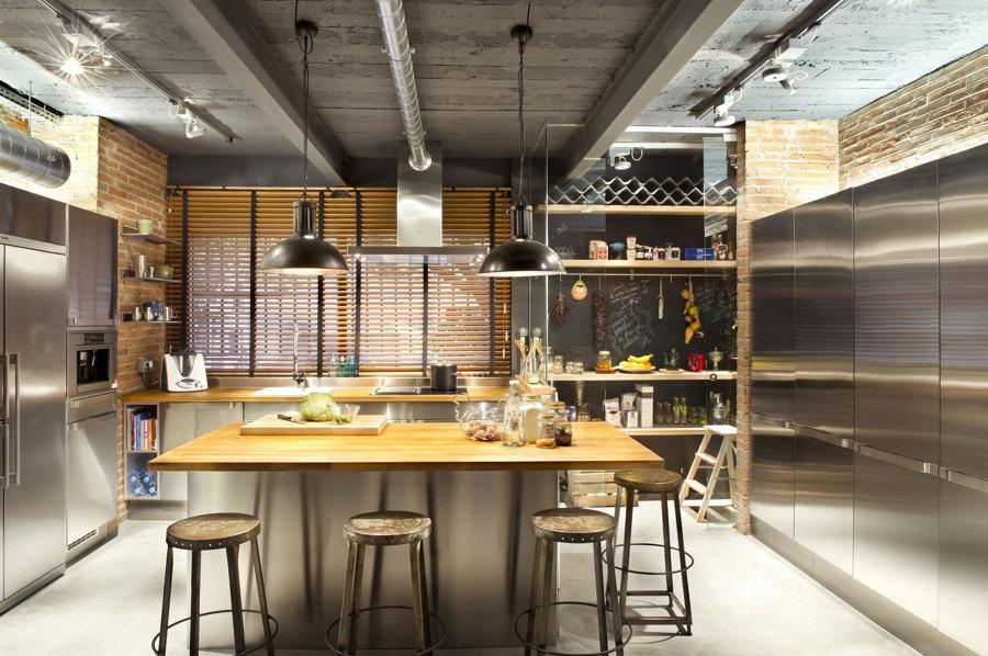 Cocina estilo industrial con isla