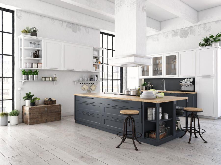 Cocina estilo industrial en blanco y gris