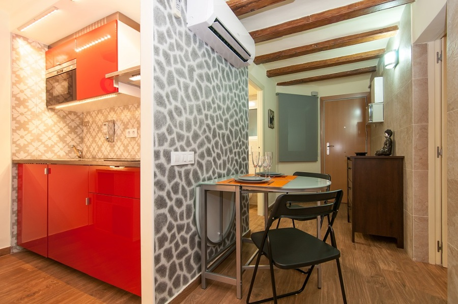 Cocina Integrada en Loft  Reformada .