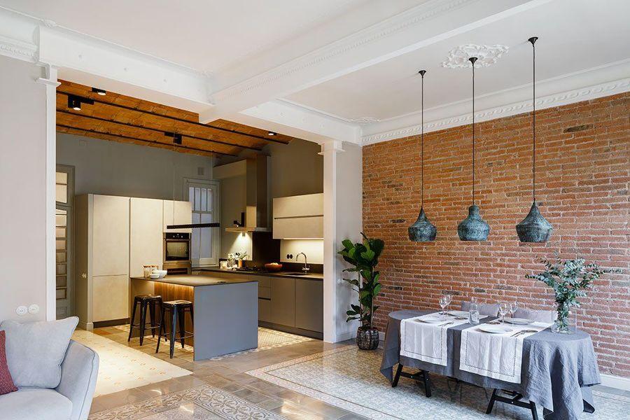 cocina moderna abierta al salón de estilo rústico urbano