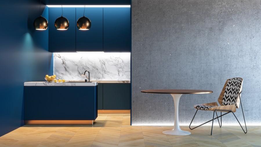 Cocina moderna en azul