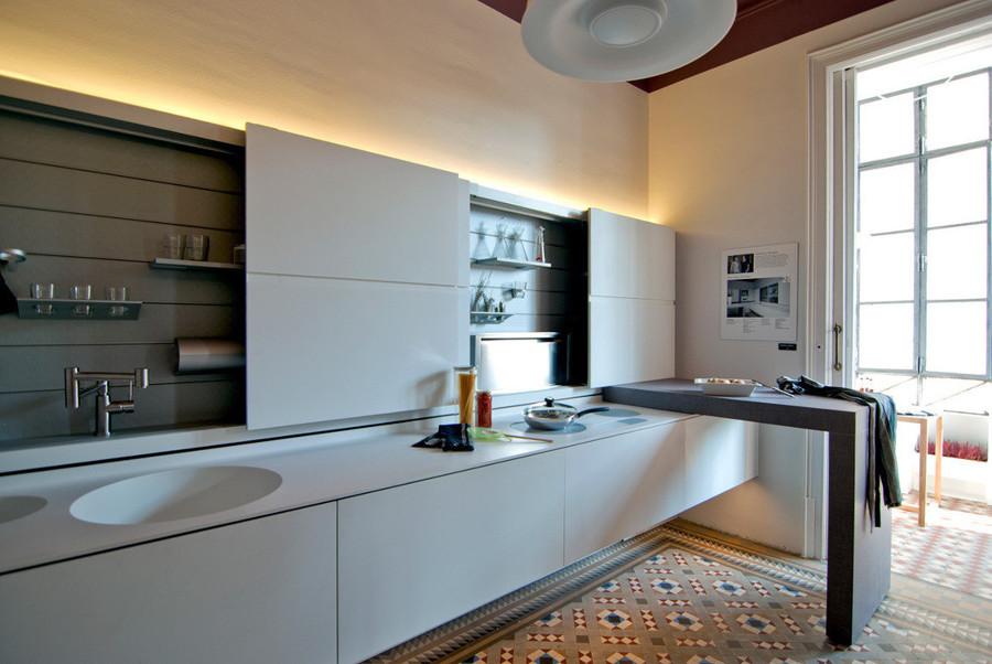 Cocina oculta blanca