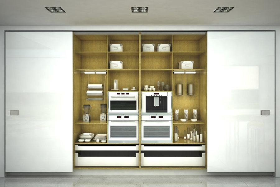 Cocina oculta con puertas correderas blancas
