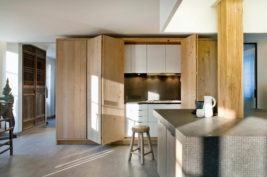 Cocina oculta madera de haya