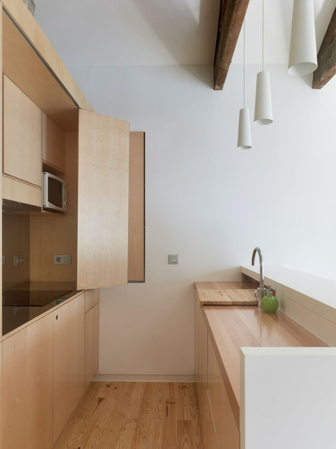 Cocina oculta madera roble