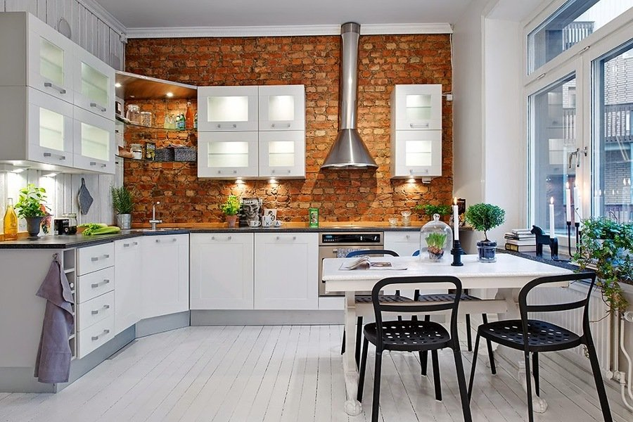 Foto cocina pared ladrillo visto de decoratualma 878841 - Cocina de ladrillo ...