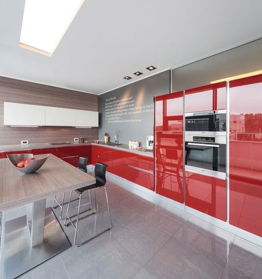 cocina roja - Cocinas Rojas Y Blancas