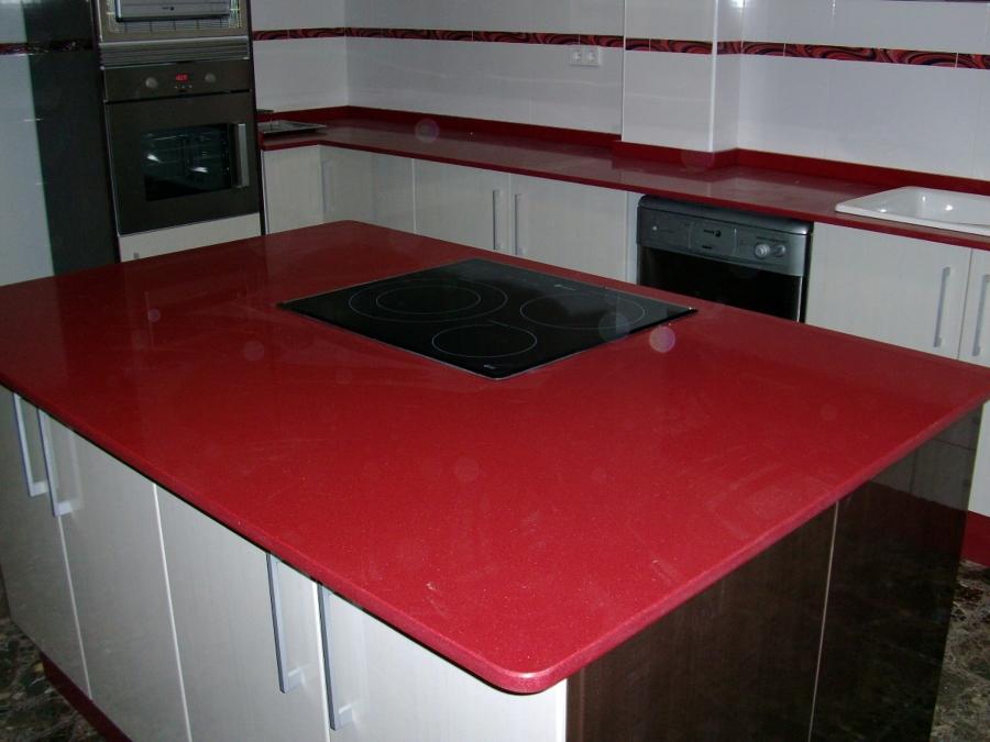 Foto cocina rojo monza de marmoles pons 252257 habitissimo - Marmoles en valladolid ...