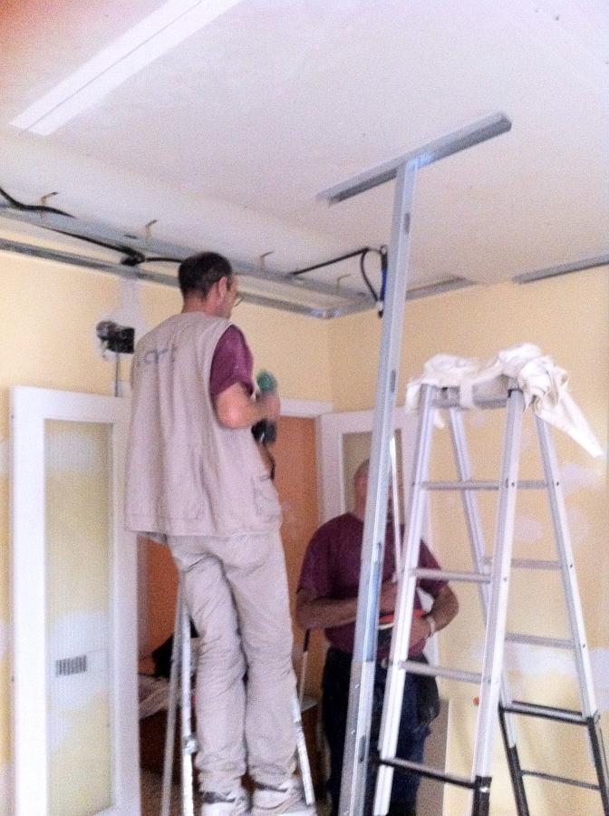 Colocación de un techo de pladur