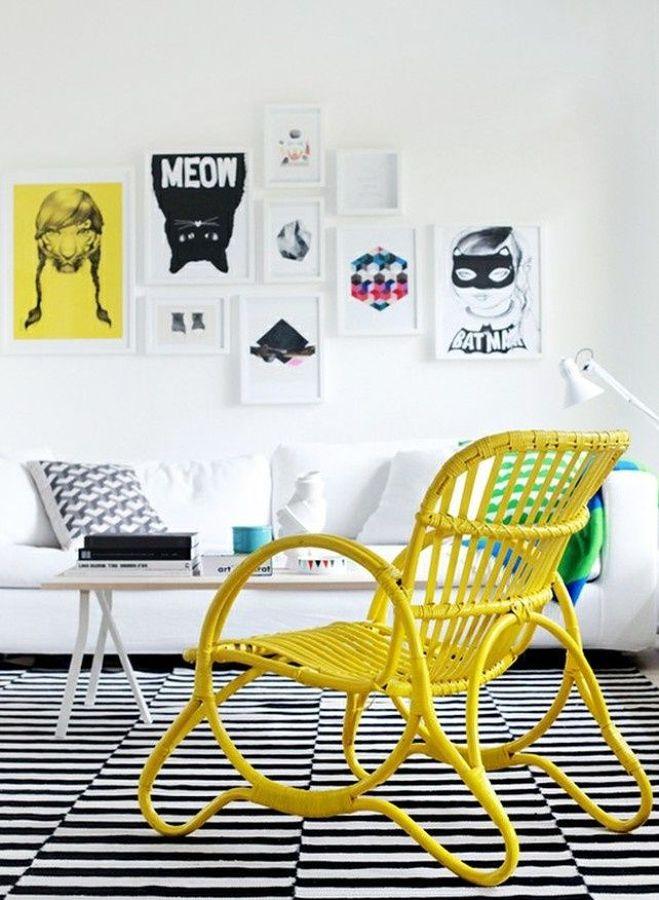 silla ratán color amarillo