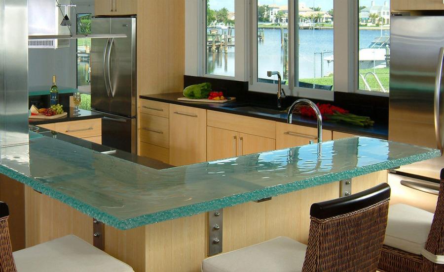 Bancadas de cocina con cristal
