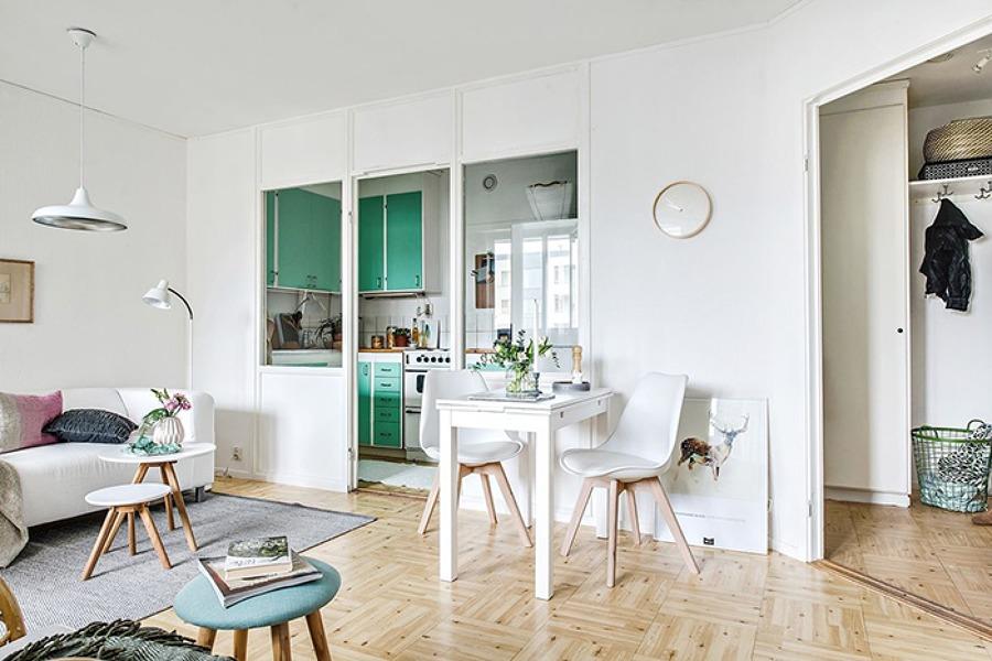 Un mini estudio con una cocina en color mint ideas reformas viviendas - Miv interiores ...