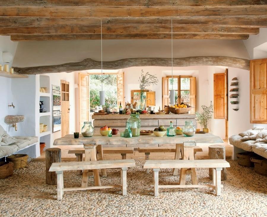 Foto comedor con suelo de piedra natural de marta - Suelo piedra natural ...