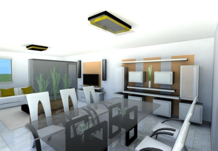 Dise o de interiorismo en 3d de sal n y comedor ideas - Interiorismo salon comedor ...