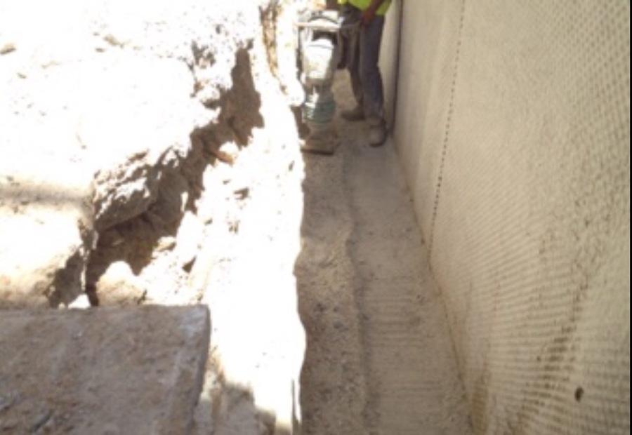 Compactación trasdo de muro