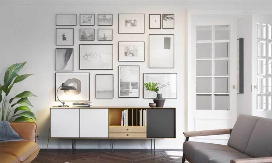 C mo crear una galer a de cuadros en tu pared ideas - Cuadros de salon ...