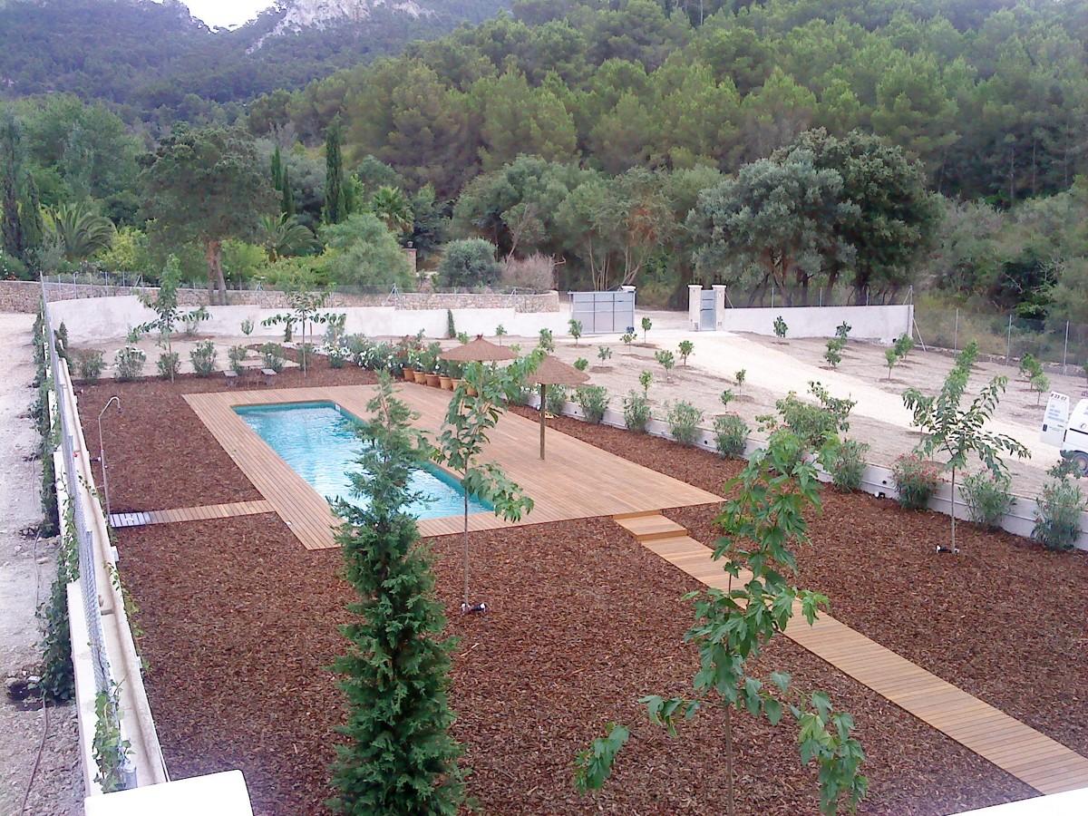 Conjunto de terraza y piscina