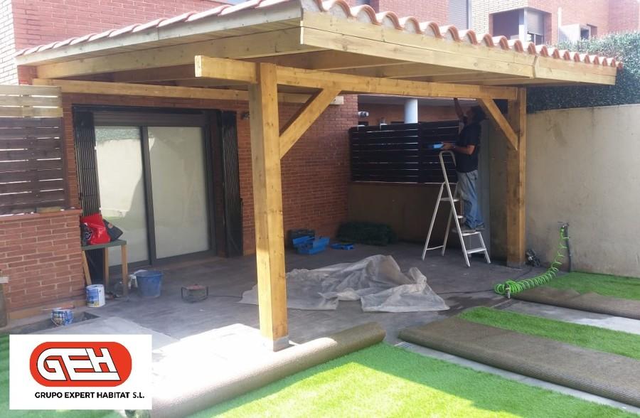Construyendo porche de madera