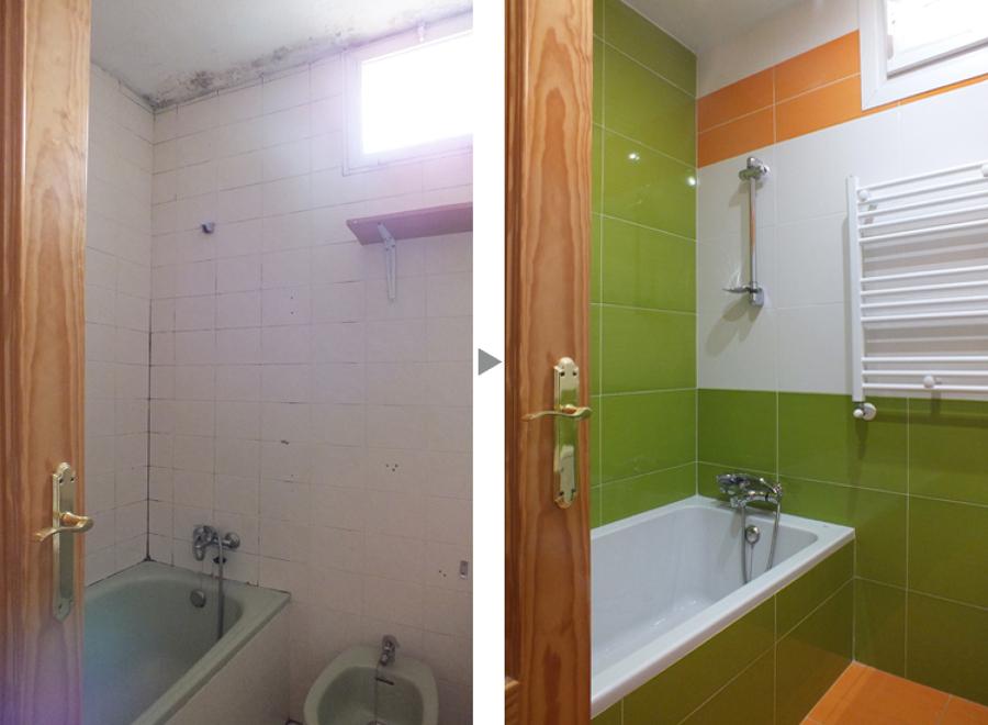 Cuarto de baño de los niños, antes y después de la reforma.