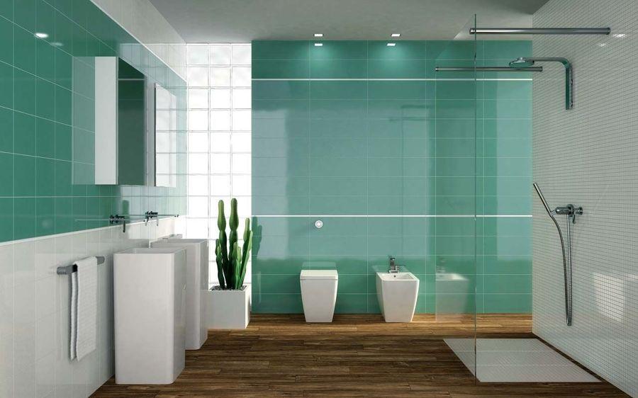 Foto cuarto de ba o verde con suelo de madera de marta for Cuartos de bano verdes